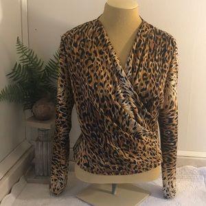 VINTAGE Leopard Print V-Neck Faux Wrap Blouse